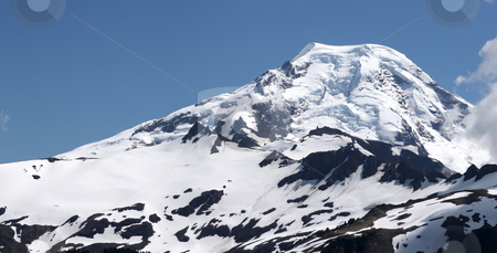Mt Baker in the Summer stock photo, Large mountain covered in snow in the summer. by Steve Stedman