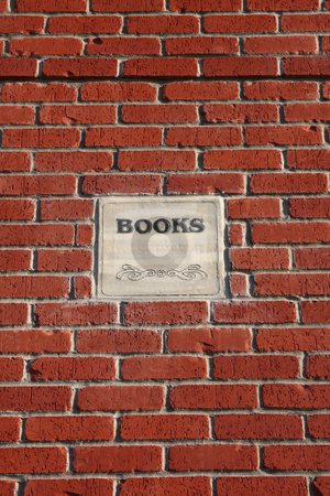 Brick and Mortar Books stock photo, Brick and Mortar Wall with a books sign. by Steve Stedman