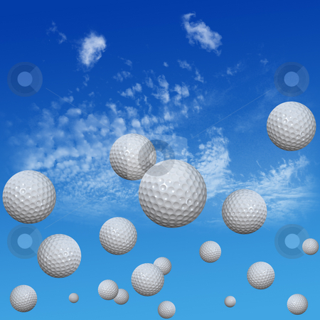 Golf Balls set in High Cloud Sky stock photo, A group of golf balls course into a high cloud blue sky. High drives. 3D illustration. by Michael Brown