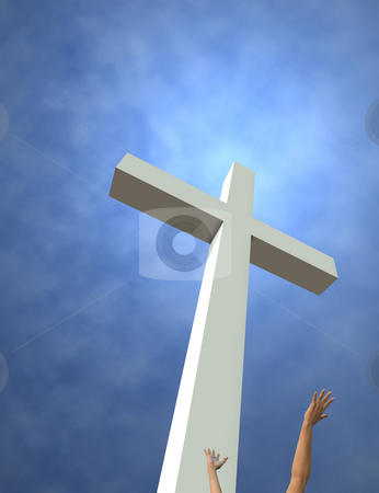 Risen stock photo, An idealized cross and reaching hands. 3D render. Room for text or crop at top and left. by Michael Brown