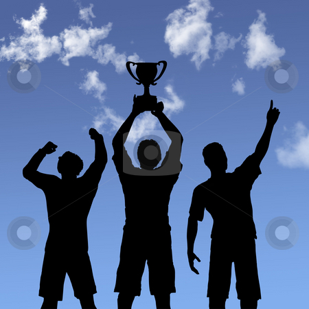 Trophy Celebration Silhouettes on Sky stock photo, ILLUSTRATION: Silhouettes of team players win a trophy and celebrate business victory against a blue sky. by Michael Brown
