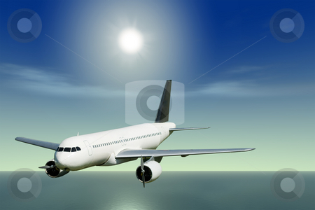 Flying Away stock photo, A passenger jet flying over the ocean on a sunny day by Richard Nelson