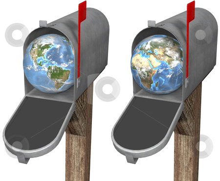 Earth Globe in Mailbox stock photo, The world delivered to a mailbox, in eastern hemisphere and western hemisphere globe set. 3D render illustration by Michael Brown