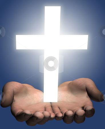 Hands hold out a bright shining white cross stock photo, Hands of a man (a 3D render) hold or offer a bright shining white cross. by Michael Brown