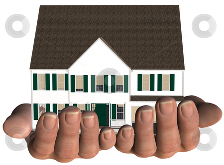 House in Hands Home Real Estate Offer stock photo, A home / house held in hands. White with green trim. Real estate, home insurance, mortgage... 3D render NOT a photo. by Michael Brown