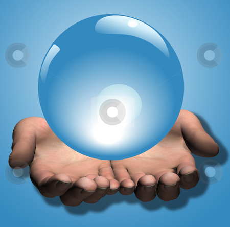Shiny Blue Crystal Ball in 3D Hands Illustration stock photo, Hands - a 3D render - hold a shiny blue crystal ball as a background: prediction; prophecy; fortune telling; future; etc. Illustration. by Michael Brown