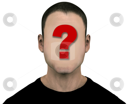 Unknown Generic Man with Blank Empty Anonymous Face stock photo, Generic anonymous unknown male with blank face. 3D illustration. Easily erase the question mark by painting over it with the flesh color. Includes clipping paths. by Michael Brown