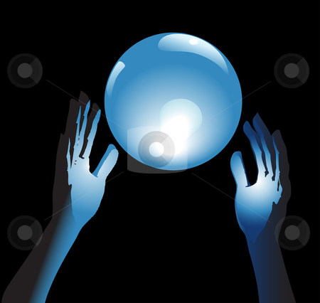 Crystal Ball Future in Hands stock vector clipart, Hands reach for a shiny, crystal ball in blue glow, a backround for fortune, forecast, answers to questions. by Michael Brown