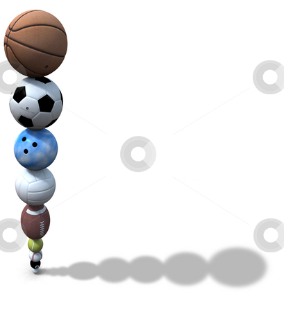 Sports Ball Stack Background stock photo, Stack of golf, pool, baseball, tennis, football, volleyball, bowling, soccer, basketball balls team up to form a background illustration. by Michael Brown