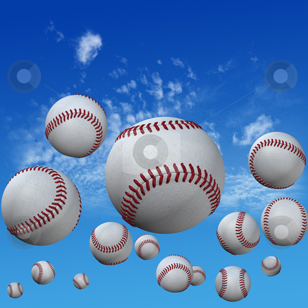 Baseballs set in High Cloud Sky stock photo, A group of baseballs set in a high cloud blue sky. Fly balls fly. Home runs. 3D illustration. by Michael Brown