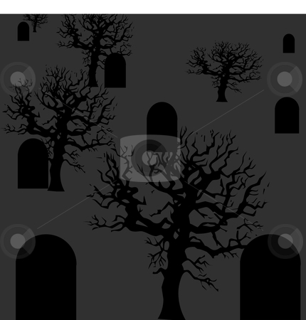 Tombstone and trees Halloween vector background stock vector clipart, Dark bare vector trees and tombstones backgrounds by Michelle Bergkamp