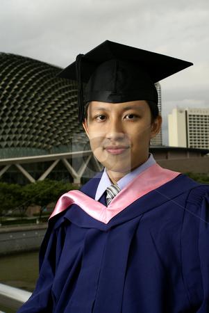 Asian chinese graduate outdoors stock photo, Asian graduate outdoors in Singapore by Wong Chee Yen