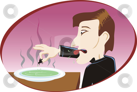 Disgusting soup stock vector clipart, Man at restaurant eat disgusting soup with fly by Oxygen64