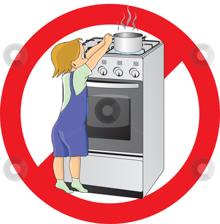 Child stock vector clipart, Child at danger in kitchen by Oxygen64