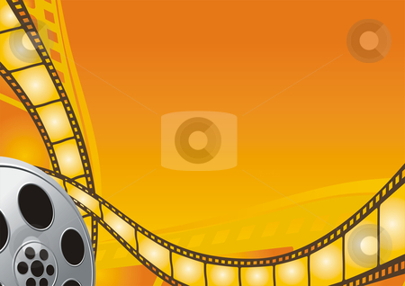 Cinema stock vector clipart, Film reel on the bright orange background by Oxygen64