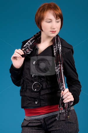 Fashion with a jacket stock photo, Young red haired girl with a fashion attitude by Frenk and Danielle Kaufmann
