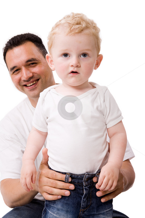 Blond boy and his daddy stock photo, Cute caucasian toddler haves fun with his daddy by Frenk and Danielle Kaufmann