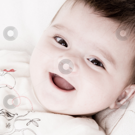 Smiling happy baby stock photo, Cute asian baby is happy and playfull by Frenk and Danielle Kaufmann