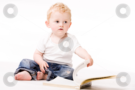 Whise boy stock photo, Cute caucasian blond toddler ishappy and playfull by Frenk and Danielle Kaufmann