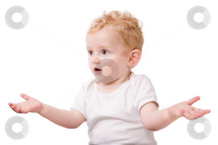 Young child who's did'nt know stock photo, Cute caucasian blond toddler ishappy and playfull by Frenk and Danielle Kaufmann