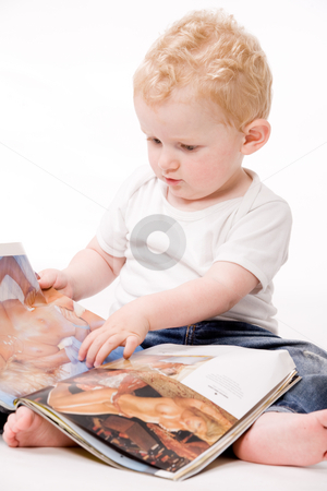 Toddler with big man dreams stock photo, Cute caucasian blond toddler ishappy and playfull by Frenk and Danielle Kaufmann