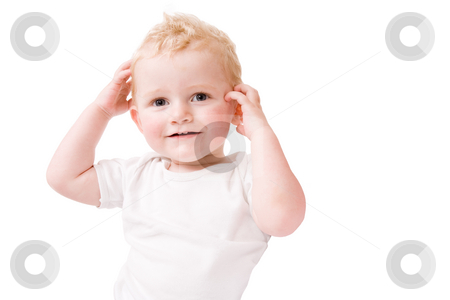 Head, shoulders, knees and toos stock photo, Cute caucasian blond toddler ishappy and playfull by Frenk and Danielle Kaufmann