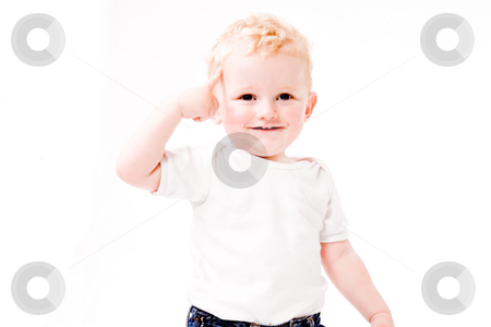 My head stock photo, Cute caucasian blond toddler ishappy and playfull by Frenk and Danielle Kaufmann