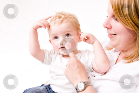 Nose and head stock photo, Cute caucasian blond toddler is happy with his mother by Frenk and Danielle Kaufmann