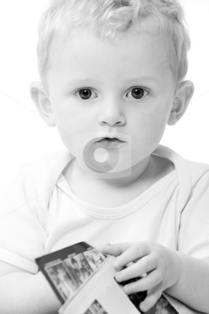 Toddler portrait stock photo, Cute caucasian blond toddler ishappy and playfull by Frenk and Danielle Kaufmann