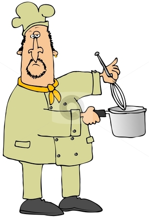 Chef Using A Whisk stock photo, This illustration depicts a chef using a whisk in a pot. by Dennis Cox