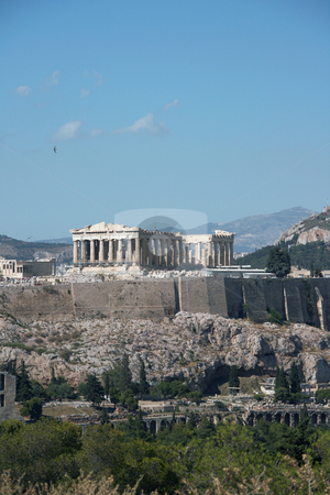 Rock of parthenon stock photo, Tourists visiting the rocck of parthenon in athens greece by EVANGELOS THOMAIDIS