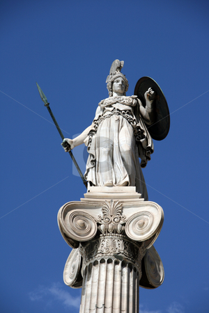 Athena statue stock photo, The statue of goddess athena in front of the university of athens greece on total blue sky background by EVANGELOS THOMAIDIS