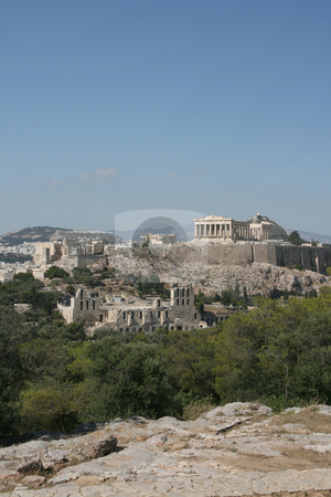 Landmarks parthenon stock photo, Acropolis the parthenon herodion theatre and erechthion view of famus landmarks of athens greece by EVANGELOS THOMAIDIS