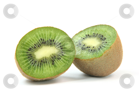Two pices of kiwi  stock photo, Kiwi fruit cuted in two halfs isolated on white background healthy eating and agriculture concepts by EVANGELOS THOMAIDIS