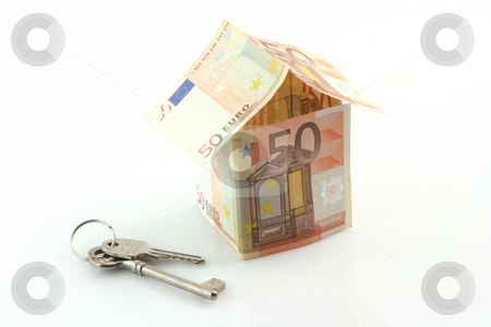 Home investment stock photo, Finance banking constuction and business concepts house with euro money and keys isolated on white background by EVANGELOS THOMAIDIS