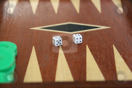 Backgammon doubles stock photo, Backgammon game detail dices on double six by EVANGELOS THOMAIDIS