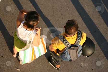 Young couple stock photo, Young couple man and woman from above by EVANGELOS THOMAIDIS