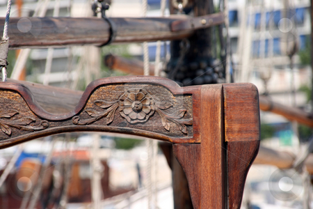 Wood scuplture stock photo, Sculptured wood detail from antique sail yacht by EVANGELOS THOMAIDIS