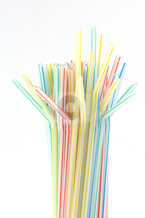 Multicolor straws stock photo, Multicolor straws isolated on white background celebration concepts by EVANGELOS THOMAIDIS