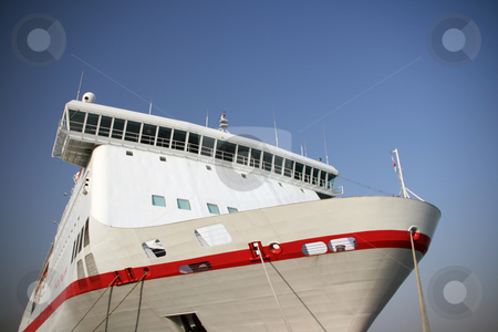 Big passenger ship stock photo, Perspective view of a big passenger ferry boat by EVANGELOS THOMAIDIS