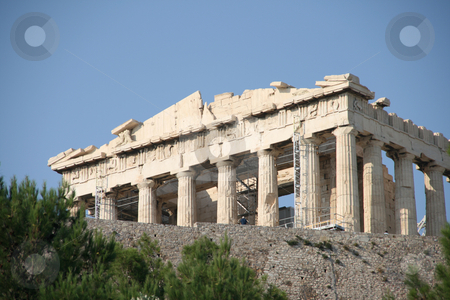 Acropolis stock photo, Parthenon above trees landmarks of athens greece by EVANGELOS THOMAIDIS