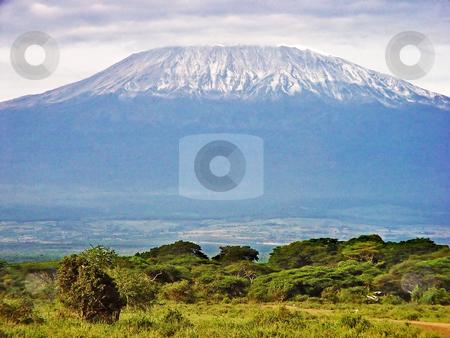 View of the mount Kilimanjaro stock photo, The mount Kilimanjaro, on the border between Kenya and Tanzania, seen from the Kimana National Park, Kenya by Emmanuel Keller