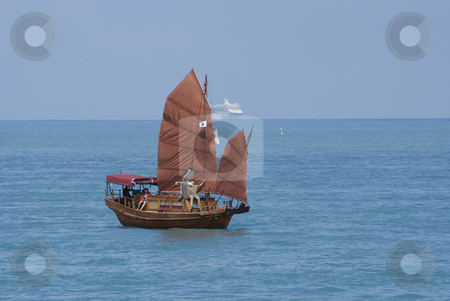 Junk stock photo, Chinese brown junk in Mediterranean sea. by Serge VILLA