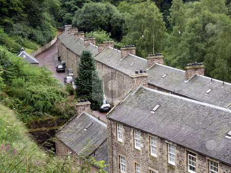 Rooftops stock photo, Rooftops of old, stoned houses, New Lanark by Juliet Photography