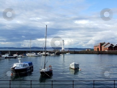 Edinburgh stock photo, Boats and lighthouse in the harbour, Edinburgh by Juliet Photography