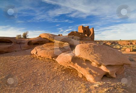Wukoki stock photo, The Wukoki Pueblo in Wapatki Naitional Monument in Arizona. An Anasazi style pueblo built around 1100 AD. by Mike Dawson