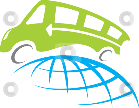 Bus travel stock vector clipart, A vector bus travel around whole world illustration by Oxygen64