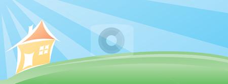 House landscape stock vector clipart, Little house landscape wallpaper by Oxygen64