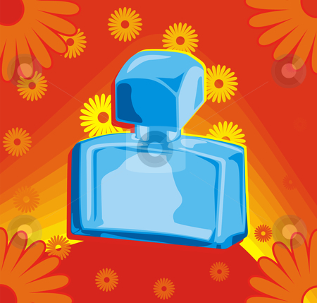 Perfume stock vector clipart, Perfume bottle on red background by Oxygen64
