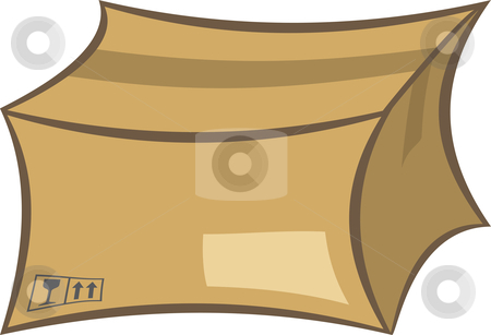 Shipping box stock vector clipart, Cardboard shipping box vector illustration by Oxygen64